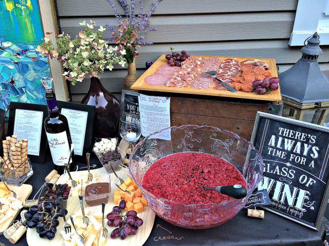 Wine, cheese and chocolate party. Skinny raspberry sangria recipe too!
