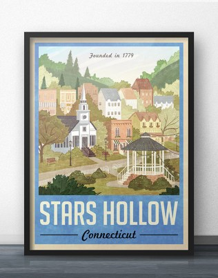 Stars Hollow Blue Travel Poster