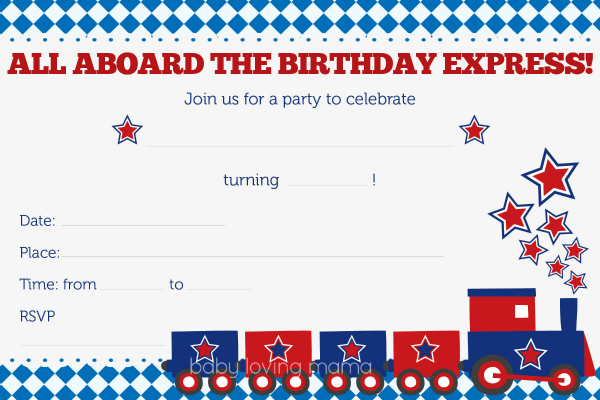 Train Birthday Party Invitations Free Printables - Finding Zest