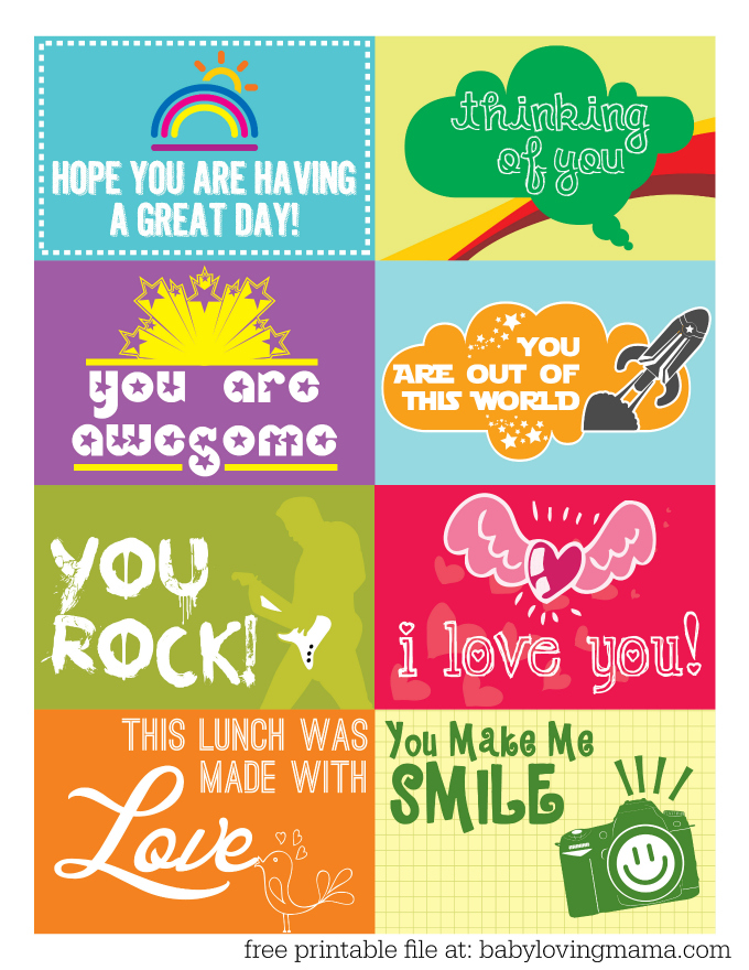 Free Printable Lunchbox Notes for Back to School - Finding Zest