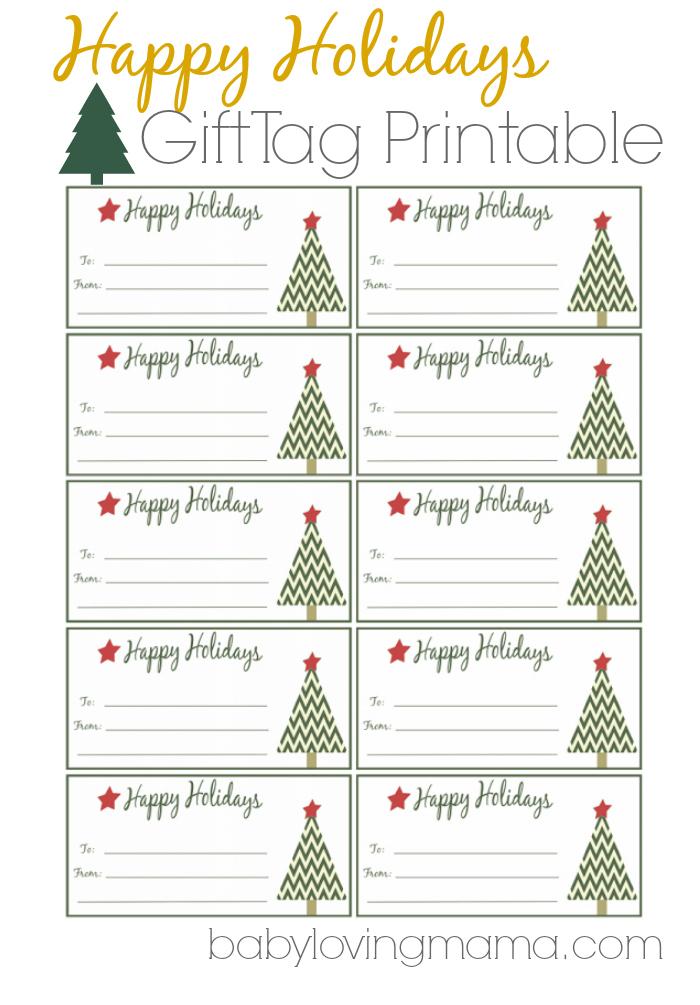 Happy Holidays Gift Tags Free Printable