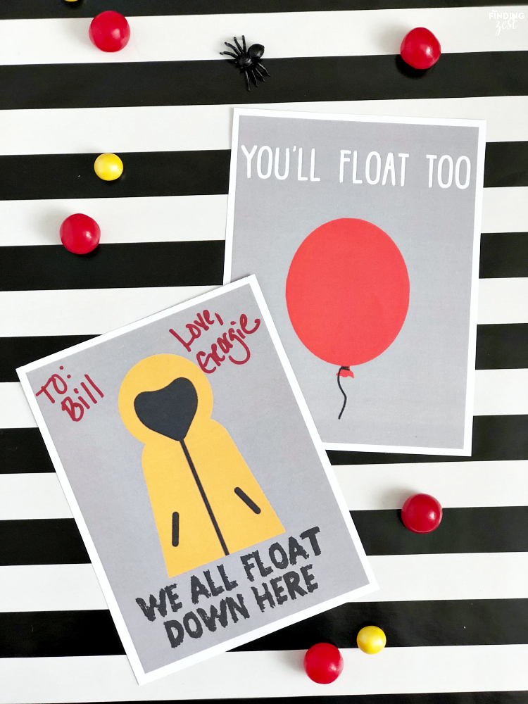 It Movie Party Favor Bag and Note Card Free Printables - Finding Zest - cards party