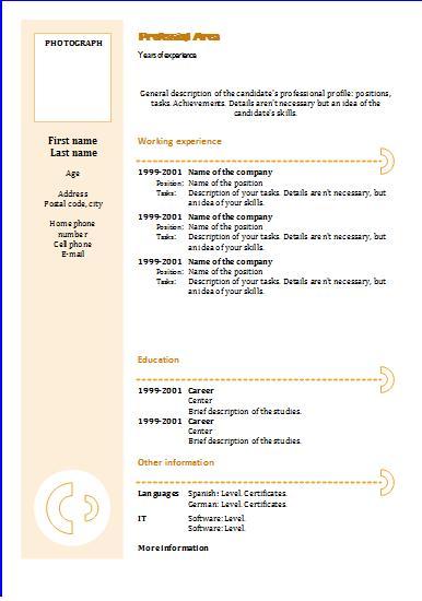 Chronological CV template \u2013 Yellow circles Resume Templates
