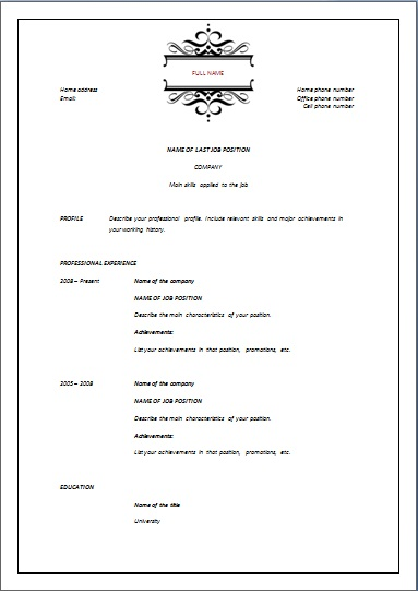 Chronological Archives Resume Templates