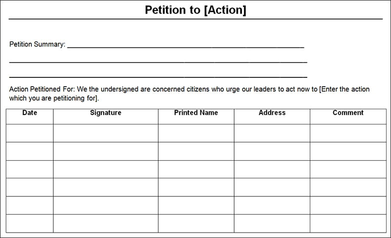free petition template - Ozilalmanoof - free petition templates examples