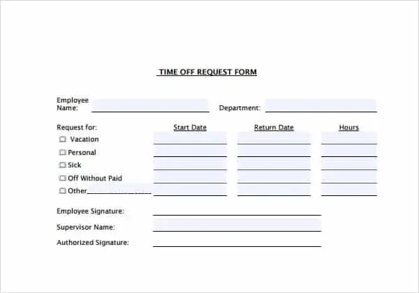 Time Off Request Forms - Find Word Templates - time off request forms