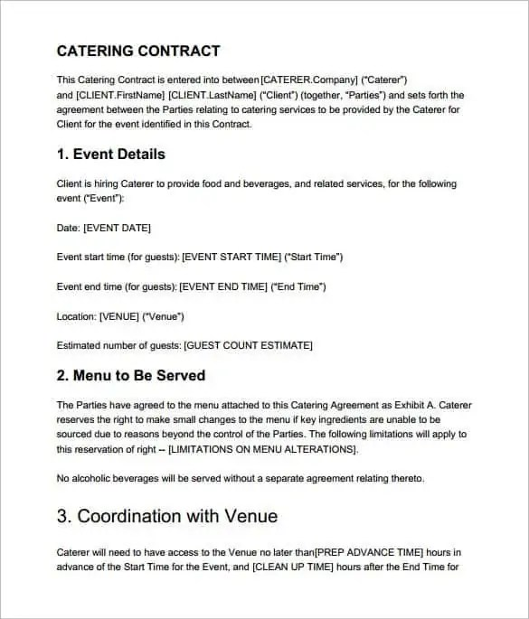 Catering Contract Templates - Find Word Templates - catering contract template