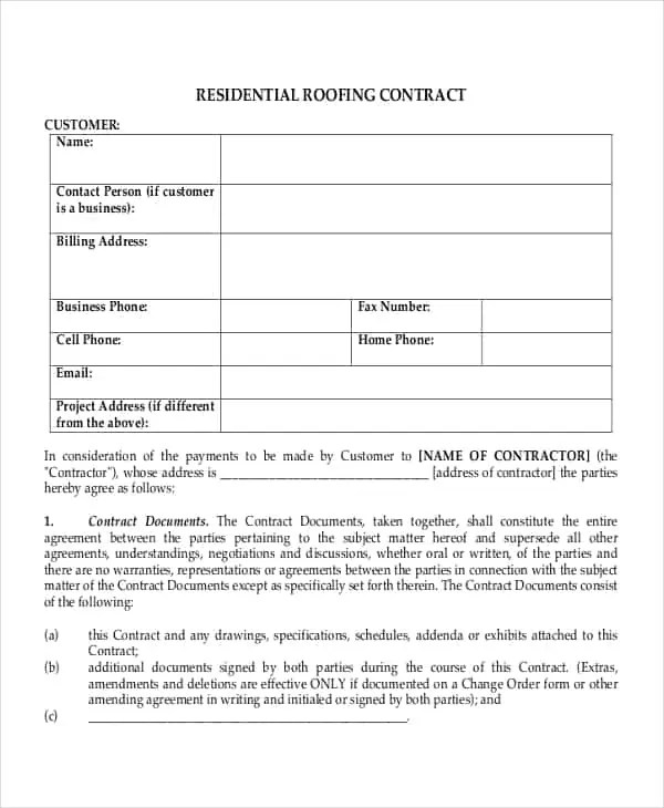 Roofing Contract Templates - Find Word Templates - roofing contract template