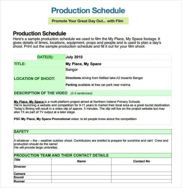 video production schedule template - Pinarkubkireklamowe