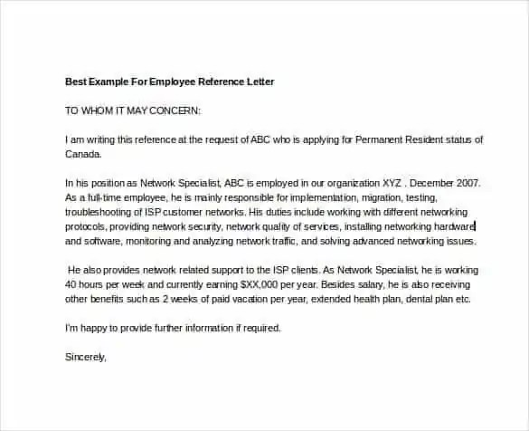 Reference Letter Templates - Find Word Templates - example reference letter for employee