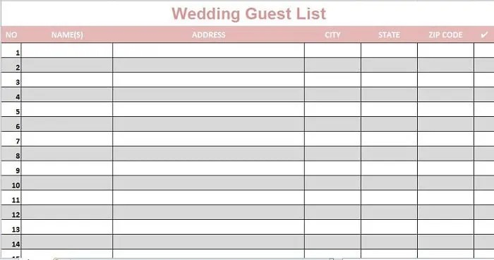Wedding Guest Lists Excel - Find Word Templates - free wedding guest list template