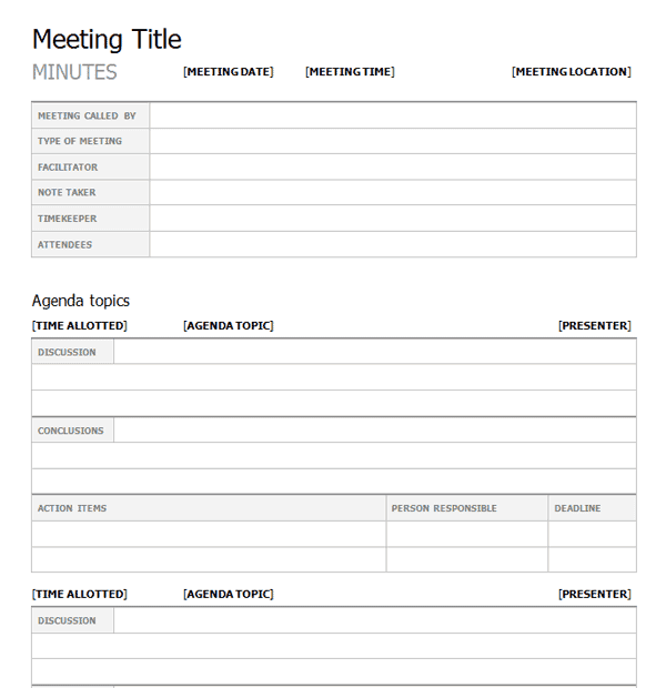 meeting minutes samples formats