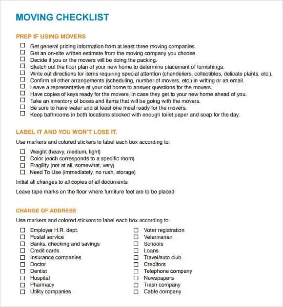 Moving Checklist Templates - Find Word Templates - moving checklist template