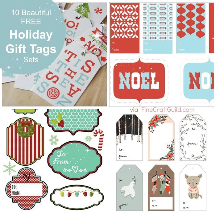10 Free Pretty Printable Christmas Gift Tag Template Sets