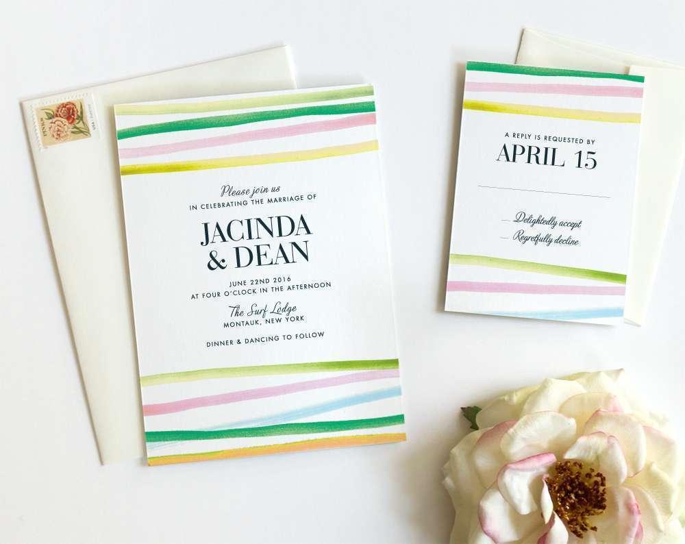 Horizon Lines Wedding Invitation In Green Fine Day Press