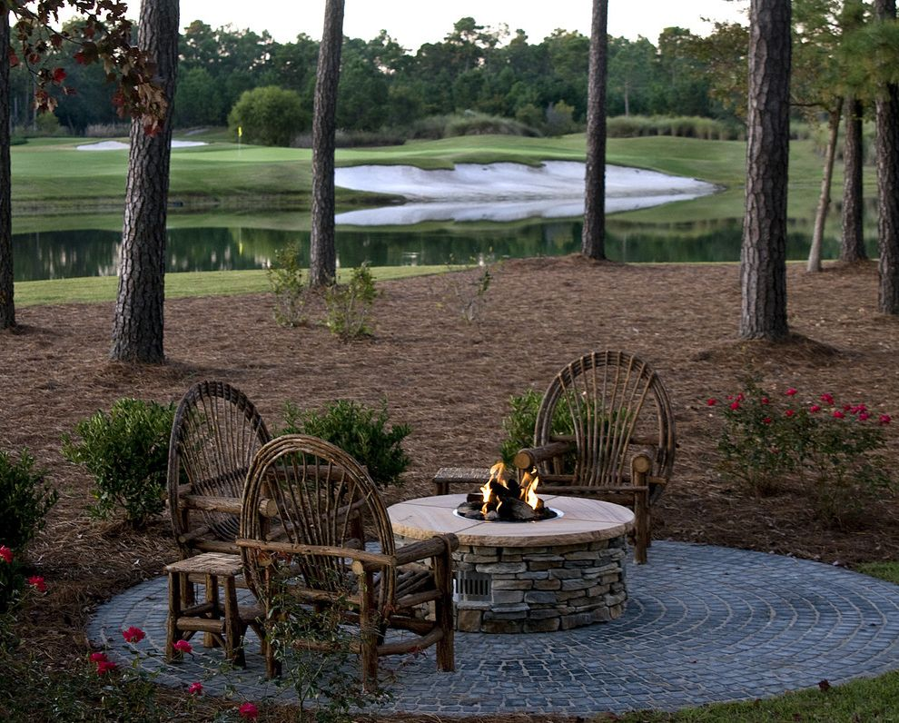 Build A Propane Fire Pit With Rustic Patio And Golf Course