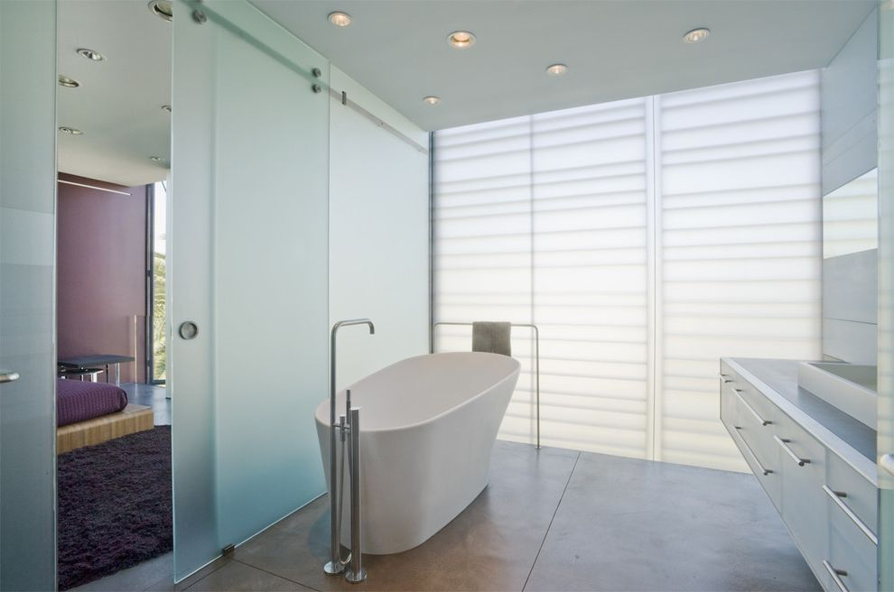 Frosted Glass Exterior Door With Contemporary Bathroom