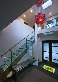 Paso Robles Glass for Modern Staircase and Dark Floor Dark ...