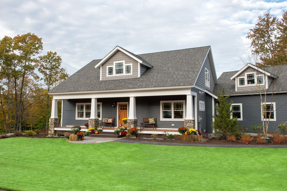 Slate Blue Vinyl Siding For Craftsman Exterior And