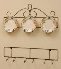 Wrought Iron Plate Hanger - Horizontal - Three 8-1/4 to 10 ...