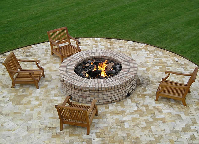 42 Inch Round Gas Fire Pit Insert With Electronic Ignition
