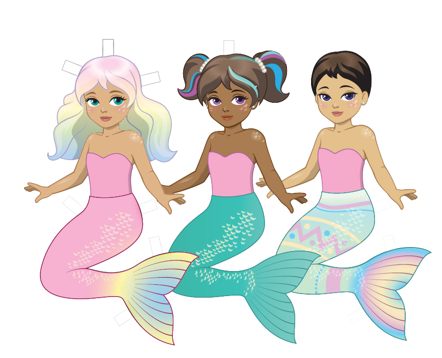 Printable Mermaid Easter Paper Dolls FinFriends