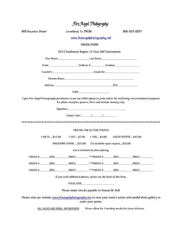 Tournament Photo Order Form - Fire Angel Photography - money order form