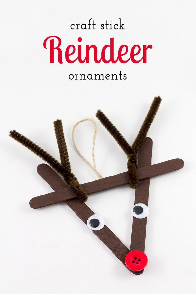 Craft Stick Reindeer Ornaments