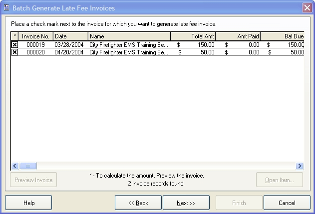 Generate late fee invoices for a single account