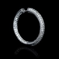 7.06ct Diamond 18k White Gold Hoop Earrings