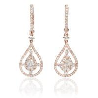 1.19ct Diamond 18k Rose Gold Dangle Earrings