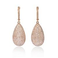 3.88ct Diamond 18k Rose Gold Dangle Earrings