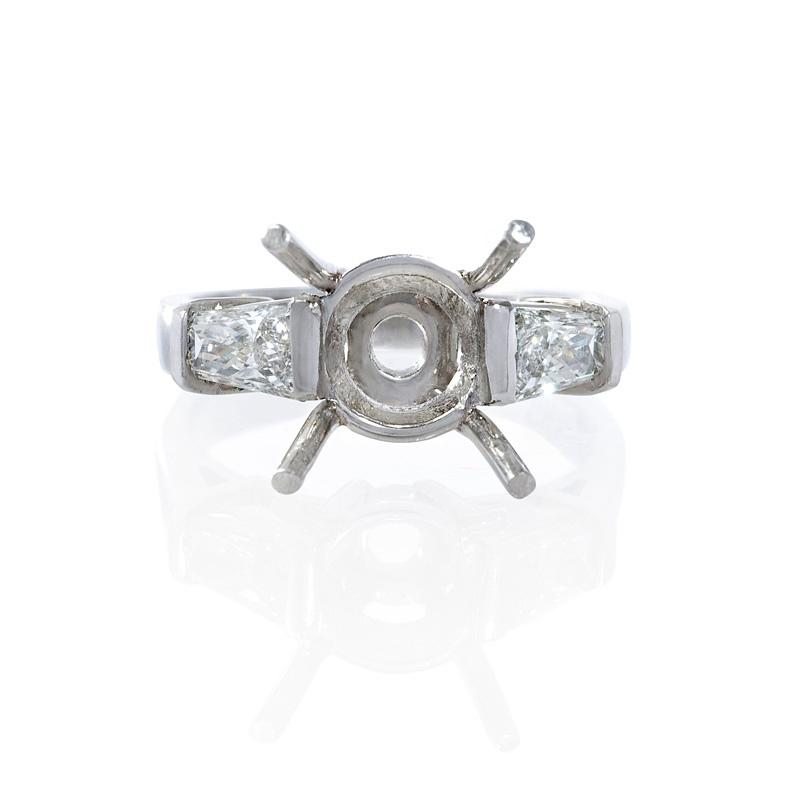 .95ct Diamond Platinum Three Stone Tapered Engagement Ring