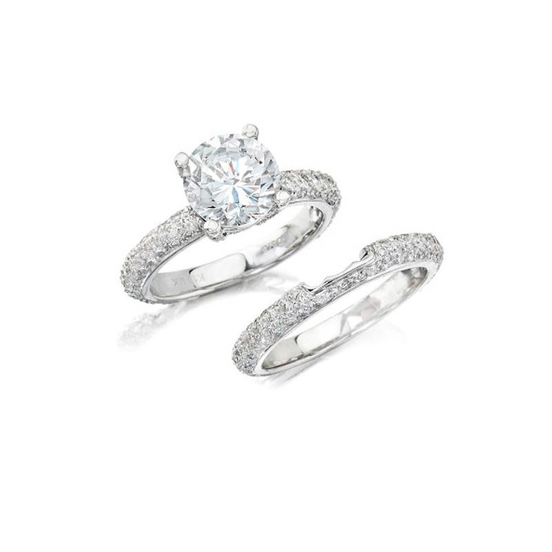 Natalie K Diamond 14k White Gold Engagement Ring Setting