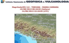 Terremoto di magnitudo 3,6 stanotte in Versilia