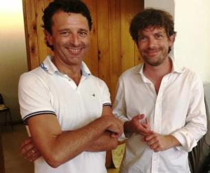 Civati (d.) con Luca Pastorino a Firenze per Politicamp (foto Twitter - Possibile)