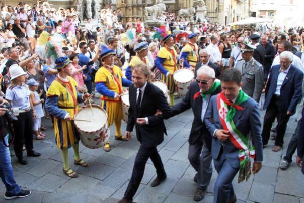 Firenze, da sin. Luca Lotti, Silvano Sarti e Dario Nardella