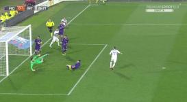 Il gol di Brozovic, nel primo tempo, che ha dato il momentaneo vantaggio all'Inter (Foto Meadiaset)
