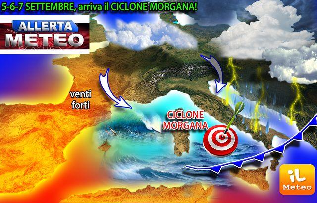 Meteo, arriva Morgana allerta temporali al Centro-Sud