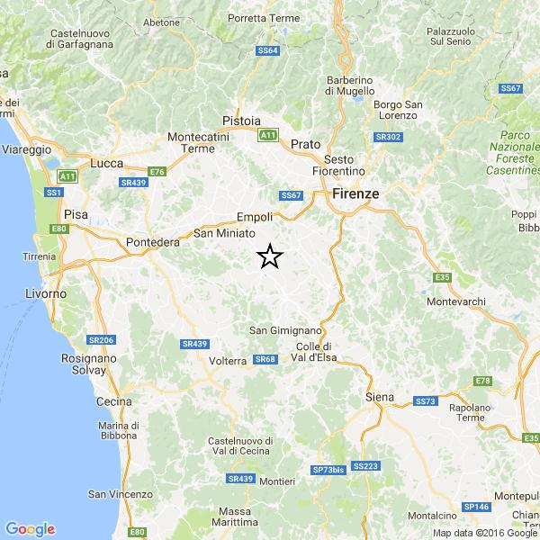 TERREMOTO OGGI TOSCANA / Scossa magnitudo 3.9 vicino a Firenze