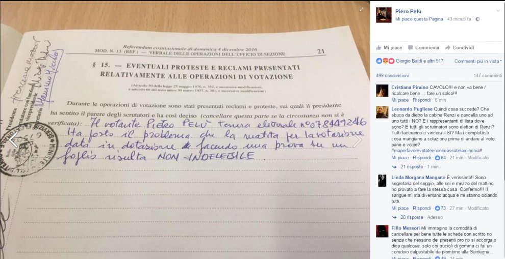 Piero Pelù e la denuncia delle matite non indelebili usate nei seggi
