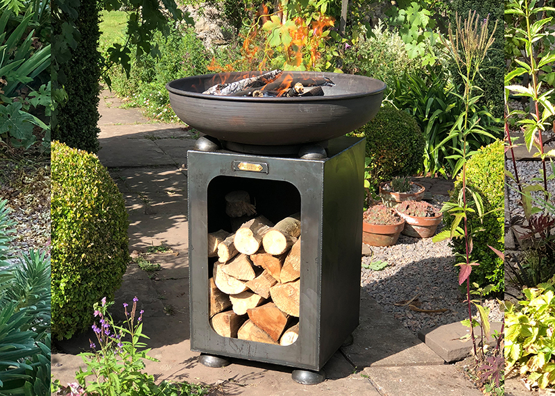 Fire Bowl With Log Store 60