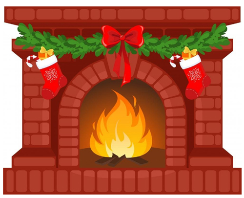 Christmas Fireplace Wall Decal Christmas Fireplace Wall