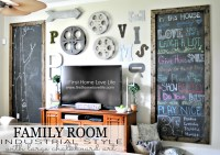Industrial Style Family Room Gallery Wall with Chalkboard ...