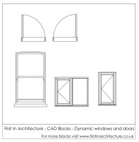 Free CAD Blocks - Dynamic window and doors | First In ...