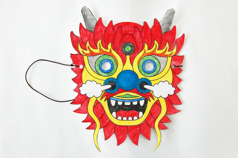 Chinese Dragon Mask Templates Free Printable Templates  Coloring