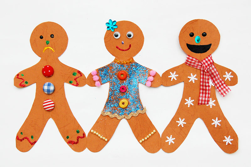 Gingerbread Man Chain Template Free Printable Templates  Coloring