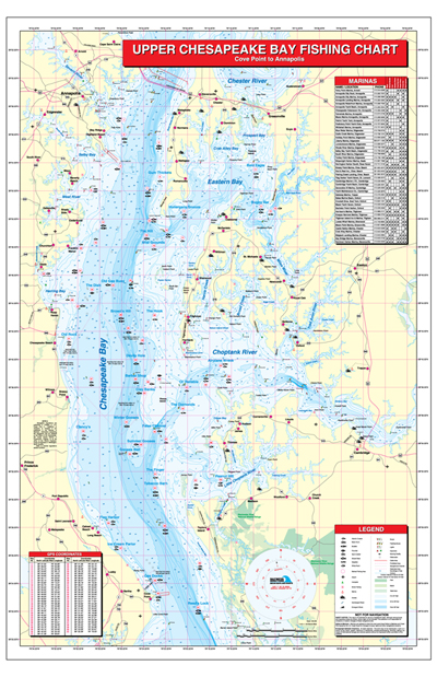 Upper Chesapeake Bay-Cove Point to Annapolis Fishing Map