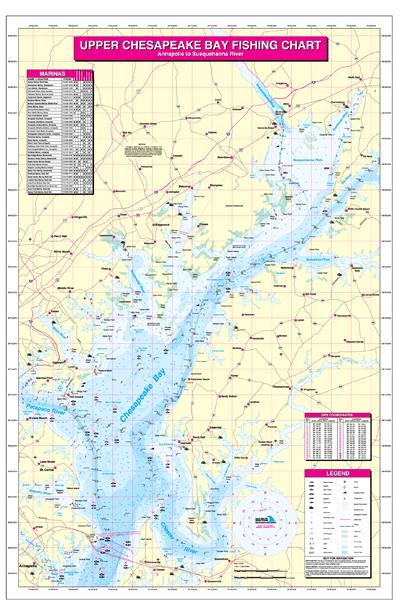Upper Chesapeake Bay-Annapolis to Susquehannah River Fishing Map