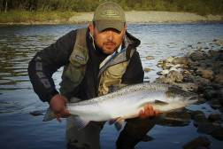 Mr. Anders Kok with bright summer salmon caught on Tube Bomber